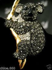 SIGNED SWAROVSKI BLACK DIAMOND PAVE'CRYSTAL KOALA BEAR   PIN~BROOCH RETIRED NWT