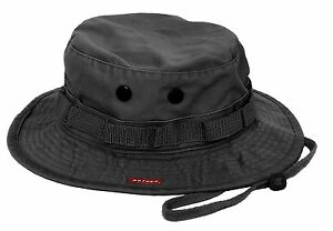 Military Boonie Hat - Vintage Black Breathable Camping, Fishing, Bucket Hat