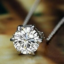 18K GP White Gold Crystal wedding Engagement Pendant Necklace