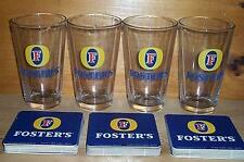 FOSTERS AUSTRALIAN LAGER 4 BEER PINT GLASSES & 20 COASTERS NEW
