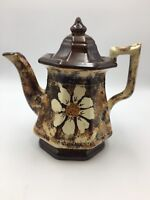 VINTAGE BROWN TEAPOT WITH DAISY