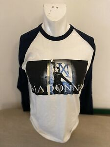 Madonna Tour T Shirt - White With Blue Sleeves