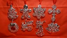 """Lenox """"Sparkle And Scroll Clear Crystal Silverplate Ornaments""""- Set Of 8 - Nib"""