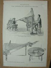 Antico 1880 Vittoriano Stampa Stampa di tipo composizione di macchine e la distribuzione