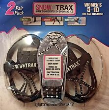 NEW WOMEN'S Snow Trax 2 Pack Winter Ice Grippers, Size 5-10 for Boots & Shoes