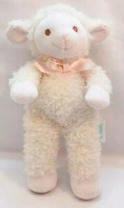 "Eden Cream White Lamb Beanie Plush 9"" Plush Pink Bow Checkered"