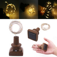 Solar Wine Bottle Lights 10LED Cork Shaped Fairy String Light Garden Decor Lamp