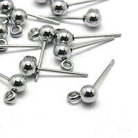 10x 304 Stainless Steel Ball Earring Posts w/ Loop Smooth Stud Hook Earwire 15mm