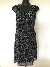 Size 24 /26 Smart Flattering Black Polka Dot Dress