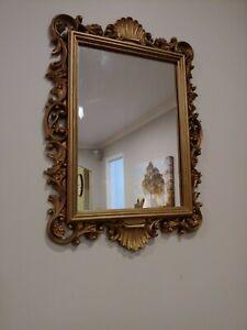"Homco French Rococo Hollywood Regency Gold Gilt Wall Mirror 20"" Tall #2151 1988"