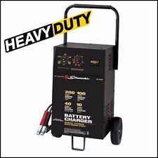 Battery Charger Heavy Duty Car Booster Jump Starter 200 Amp 12 V Power Run Wheel