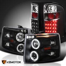 07-14 Silverado 1500 2500/3500HD Black Halo Projector Headlights+LED Tail Lights