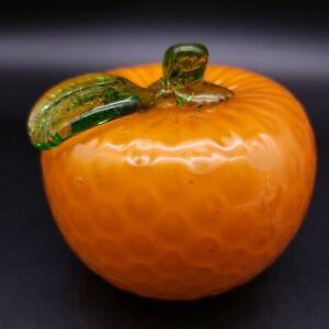 Vintage Hand-Blown Art Glass Heavy Orange Décor Life Size