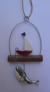 Fishing Boat With Whale Hanging Decoration  Boat Decoration  Whales  Coastal