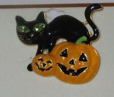 Cat Pumpkins Pin Halloween Black Orange Jack O Lantern Crystal Accents New
