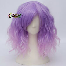 35cm Lolita Mixed Purple Ombre Fashion Short Fluffy Curly Bang Hair Cosplay Wig