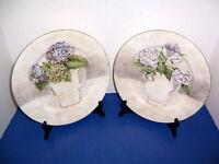 "American Atelier Floral Bouquet Purple & White Flowers  2 Dinner Plates (10.5"")"