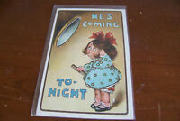 Rare Vintage Antique Postcard Humorous Comic Funny He's Coming Tonight Girl