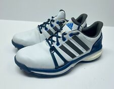ADIDAS ADI POWER BOOST Men's Golf Shoes color WHITE w BLUE & GRAY size 8