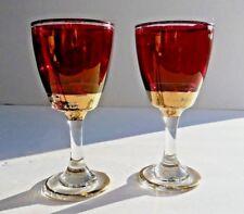 Set of 2 Vintage Ruby Cranberry Luster & Gold Cocktail Liquor Stemware Glasses