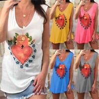 Womens Plus Size Loose Sleeveless Tunic Tee Summer Vest Tank Tops Blouse T Shirt