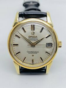 Vintage Omega Constellation Calendar Gold And Steel Plated 1960's Ref. 14393