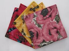 Mens Vibrant poppy design Pocket Square Handkerchiefs Hankies