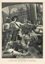 1886 - Antique Print FINE ART World Went Well Then Walter Besant Sailors (088)
