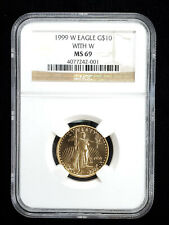1999 $10 Gold Eagle 1/4 oz With W NGC MS69