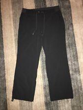 Athleta Midtown Trouser Drawstring Pants Gray Stripe Sz 14