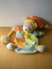 Doudou Ours marionnette Doudou et compagnie bleu orange zigzag