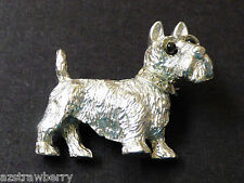 SILVER TONE METAL CRYSTAL SCOTTISH TERRIER SCOTTIE DOG PIN BROOCH