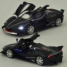 1/32 Black Ferrari FXXK Alloy Diecast Sound&Light Pull Back Car Model Kid Gifts