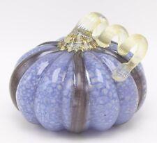 """New 5"""" Hand Blown Art Glass Blue Black Pumpkin Sculpture Harvest Fall Figurine"""