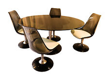 Vintage Acrylic Glass Tulip Dining Table four Chromcraft Chairs Set