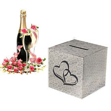 "White Silver Hearts Wedding Paper Money Box Reception Wishing Wells 10""x10"""