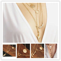 New Charm Fashion Women Pendant Gold Chain Choker Statement Bib Necklace Jewelry