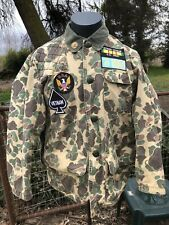 Vintage Sears Field Camo Hunting Jacket USA W/Patches Vietnam Army Veteran L-XL
