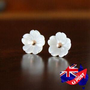 925 Sterling Silver Ladies 10MM White Mother of Pearl Cute Flower Stud Earrings