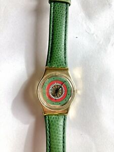 Vintage 1992 Swatch Watch Green Gold Leather Band