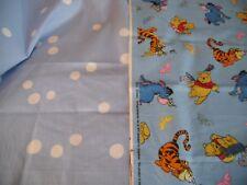 """coupons tissu  """" Winnie,Tigrou,Bouriquet """"  +  pois bleu"""