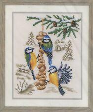 Stickpackung Stickbild sticken 24x30 Blaumeisen im Winter Futter Vogelfutter