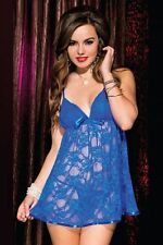 Babydoll sexy donna chemise body intimo in pizzo floreale + perizoma HOT