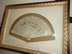 Antique Hand Bone Painted Fan in Beautiful Gold Frame.