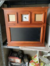 fetco dark walnut clock and magnetic chalk board with photo openings