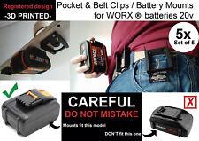 5x Battery mounts WORX 20v support bracket Shelf Rack Stand belt mount wall