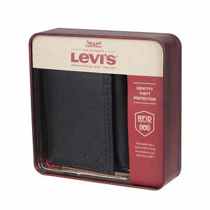 Levi's Men's Rfid Interior Zipper Coin Credit Card ID Trifold Wallet Black
