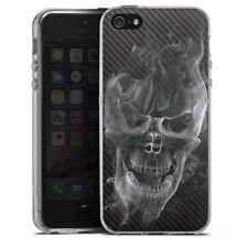Apple iPhone 5s Silikon Hülle Case - Smoke Skull Carbon