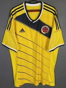 MEN'S ADIDAS COLOMBIA 2013/2014 HOME SOCCER FOOTBALL SHIRT JERSEY MAILLOT SIZE L