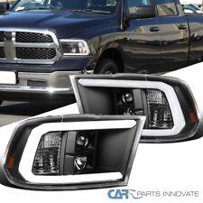 For 09-18 Dodge Ram 1500 Pickup Black LED Tube Projector Headlights Left+Right